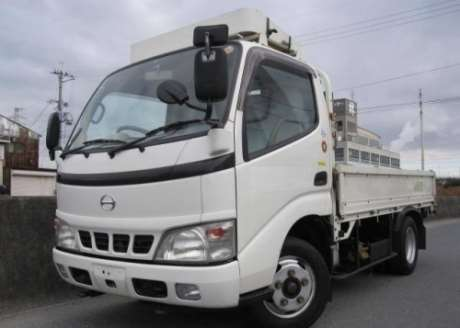 White JDM first-generation Hino Dutro (300 Series) light duty truck
