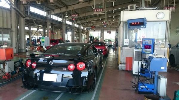 Shaken: R35 GT-R entering a Shaken testing station