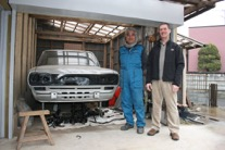 Tadashi Ando, me and a Hakosuka in his yard